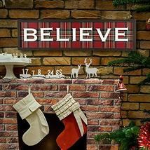 """Christmas Home Decor Vintage Believe Plaid Wall Hanging Sign 36"""" L TkLin... - $77.22"""