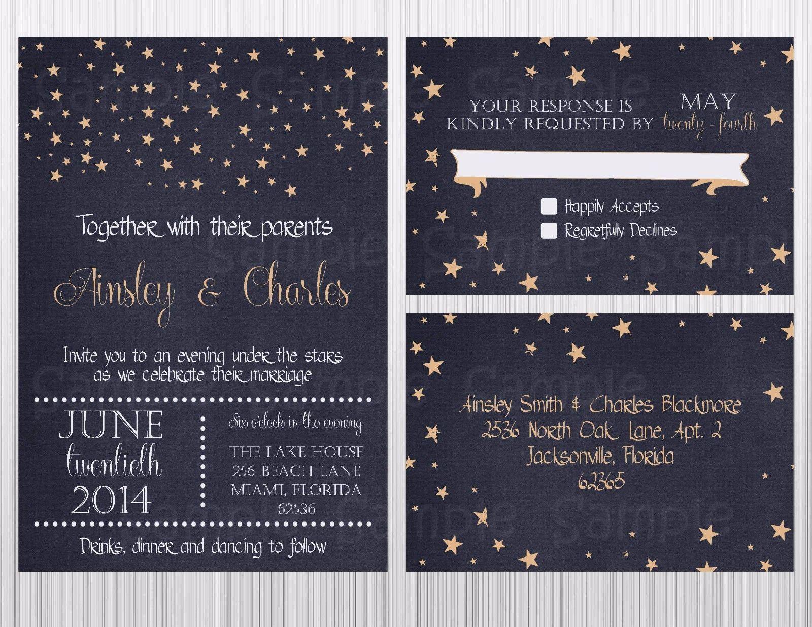 Stars Wedding Invitation Set, Invitation, RSVP Postcard Envelopes Personalized - $21.00