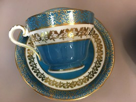 AYNSLEY Tea Cup and Saucer, Teal BLUE Cup and Saucer, Gold Leaf Trim, 19... - $98.99