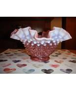 Fenton Cranberry Opalescent Hobnail Bowl Double Crimped, Pre Logo - $36.99