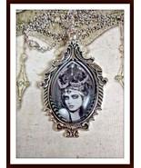 Glass pendant black & white Gothic girl silent movie vamp silver-tone w chain - $17.82