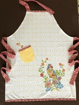 Anthropologie Apron Yellow Embroidered Bird Floral w/ Pocket - $24.99