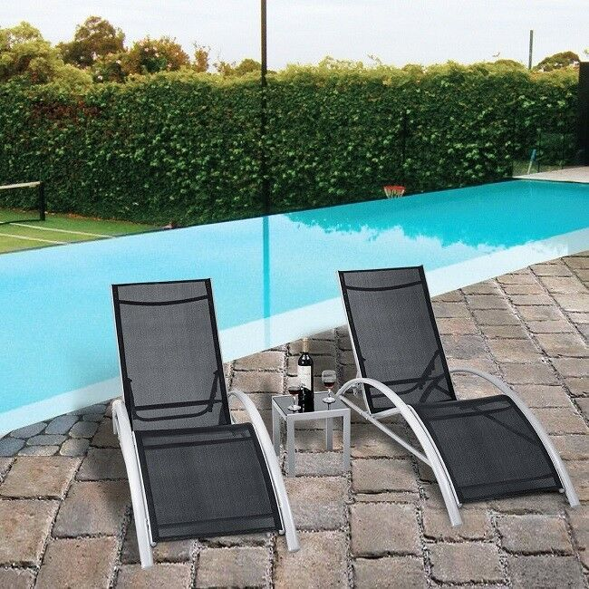 Outdoor Pool Lounger Set 3 Piece Black Patio Deck Backyard Chairs Adjustable