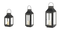 Matte Black Square Top Candle Lanterns Centerpieces 1 Mini, 1 Small & 1 Medium  - $42.95