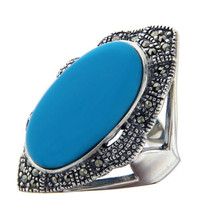925 Sterling Silver Oval TURQUOISE and MARCASITE Ring Size 7.5 »R321 - £39.83 GBP