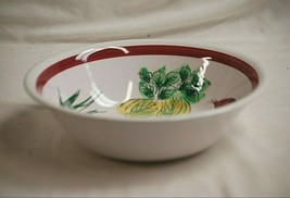 "Classic Style 10-1/4"" Vegetable Serving Bowl Dish w Garden Theme Maroon ... - $24.74"