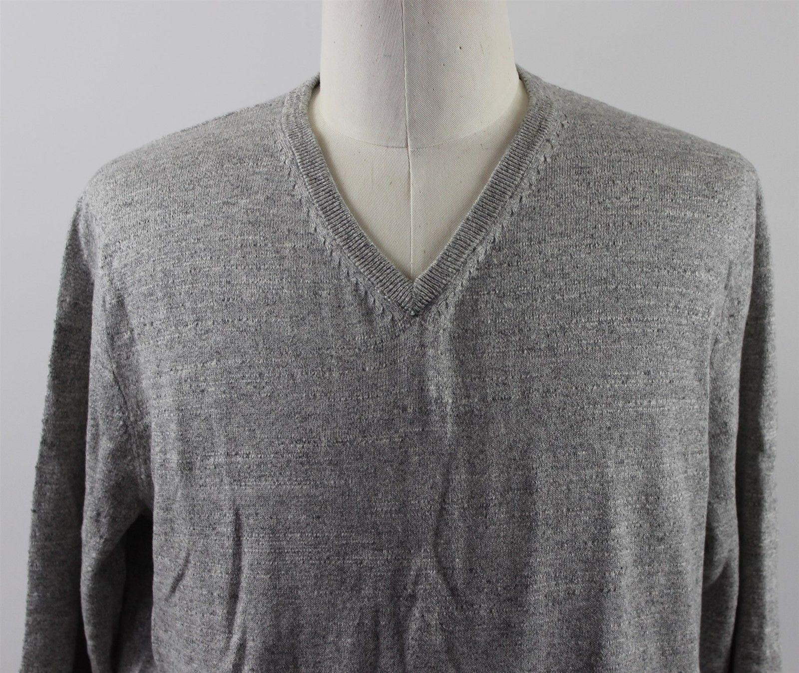 c78585716 NWT J.Crew Slim Rugged Cotton V-Neck Sweater MENS XL Heather Steel Fisherman