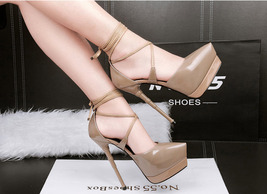 82s028 elegant crossed strappy ankle sandal,patent leather,US Size 4-8.5,apricot - $68.80