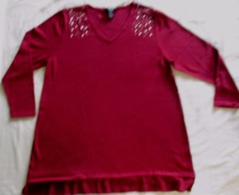 Style & Co Women Sweater 2X Burgundy Casual Solid V Neck Long Sleeves 1700L - $14.50
