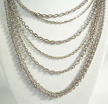 AVON Silver Plated 7 Strand CABLE Chain Necklace Graduated Lengths Vinta... - $14.80