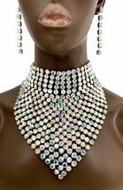 Chunky Choker Bib Statement Evening Necklace Earrings Aurora Borealis Crystals  - $58.90