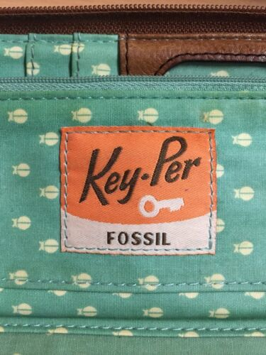 FOSSIL Key-Per Coated Canvas Zip Around Wallet Clutch Tan Brown Leather