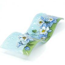 Fused Art Glass Blue Columbine Flower Floral Wavy Sun Catcher Handmade Ecuador image 5
