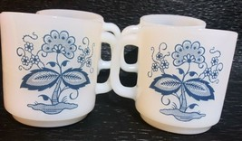4 Glasbake Blue Onion Flower Coffee Cups Mugs White Milk Glass D Handle - $19.99
