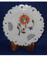 """6"""" Marble Plate Hakik Floral Grill Work Inlaid Handmade Pietra Dura Home... - $37.74"""