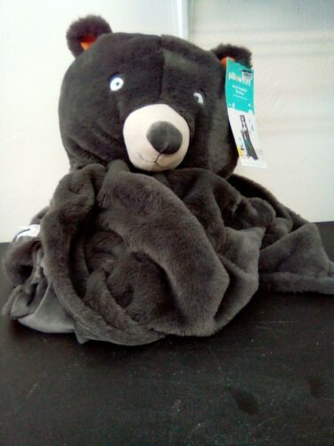 "Bear Micro Plush Hooded Bed Blanket Gray 50"" x 40"" Super Soft - Pillowfort"
