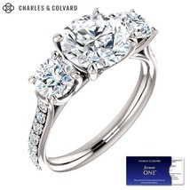3.50 Carat Round Forever One Moissanite Three Stone Ring (Charles&Colvard) - $2,695.00