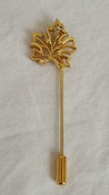 """2.5""""VINTAGE GOLD TONE MAPLE LEAF FILIGREE STICK PIN, .75""""LEAF, NO DEFECT... - $4.94"""