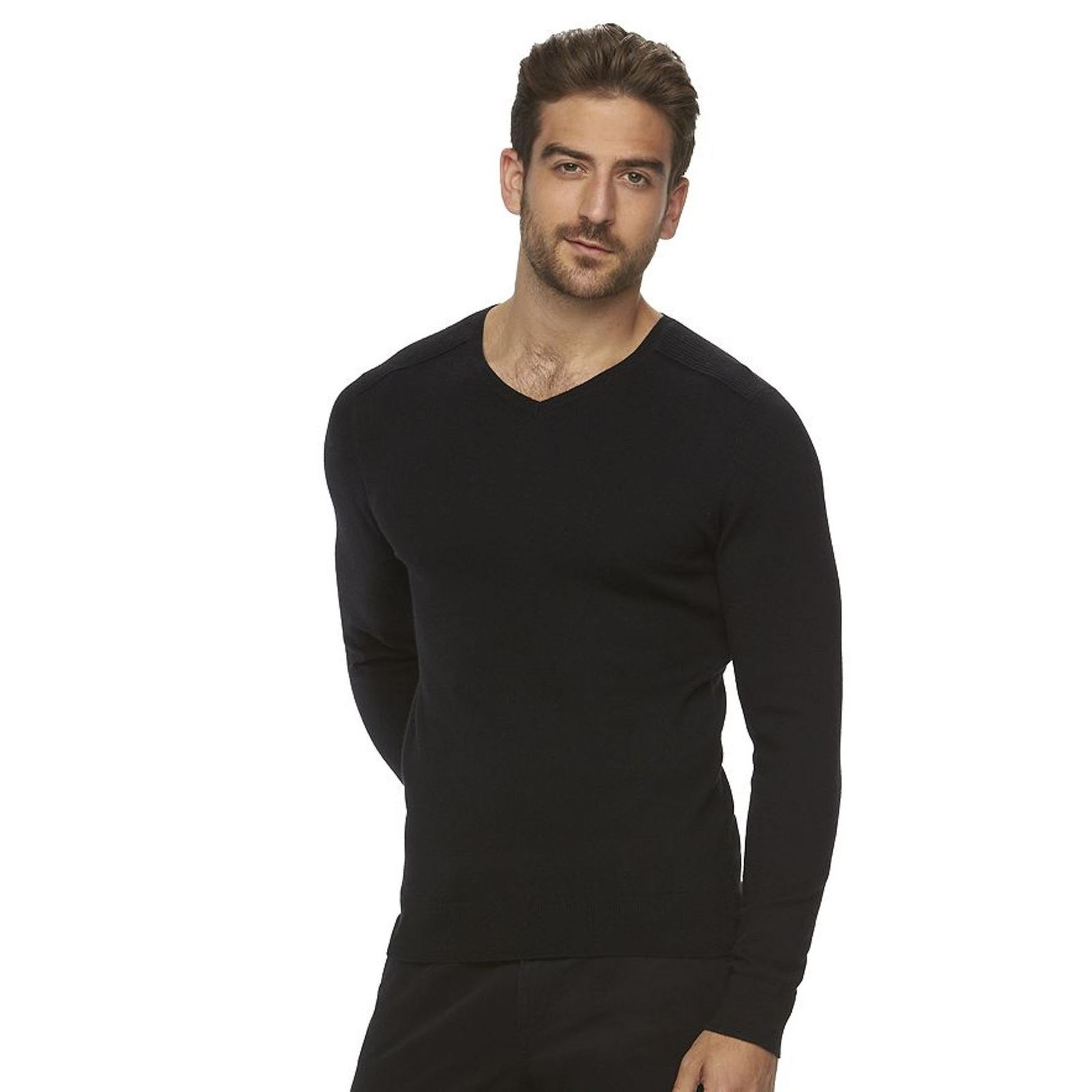 Marc Anthony Big & Tall Men's Slim-Fit Solid Black V-Neck Sweater New $70