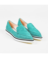 Nicholas Kirkwood NIB  Aqua Blue Suede Pointed Toe Alona Loafers SZ 37 - $310.00