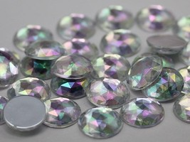 11mm Crystal Clear AB A01  Flat Back Round Acrylic Gems - 75 Pieces - $9.03