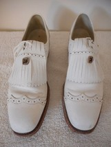 Vintage FootJoy Kilted white cap toe Leather Golf Shoes 7.5 AAA metal cl... - $44.54