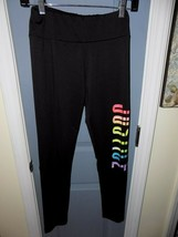 JUSTICE Rainbow Big Logo Black Leggings Size 14 Girl's EUC - $18.17