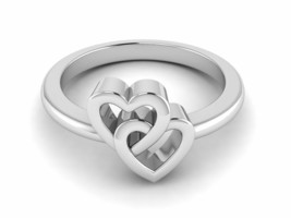 """Solid 925 Sterling Silver """"U and ME TWO HEART"""" White Gold Rhodium Weddin... - $16.33"""