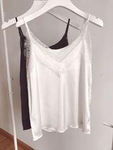 Black Sleeveless Chiffon Lace Top Summer Chiffon Tank Bridesmaid Lace Top Blouse image 12