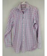 PETER MILLAR Long Sleeve Button Up Shirt  Blue, Pink, & White Plaid Size XL - $18.69