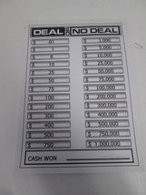 Cardinal 2006 Deal or No Deal replacement score card pad - $3.91