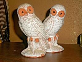 VINTAGE REDWARE -TERRA COTTA WHITE GLAZED OWL FIGURINES ON LOG SET OF 2  - $35.63