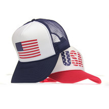 American Flag Adjustable Snap Patriotic USA Classic Mesh Summer Trucker Hat New - $12.95