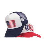American Flag Adjustable Snap Patriotic USA Classic Mesh Summer Trucker ... - $17.11 CAD