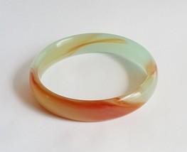 Peking Glass Celadon Green Jade & Carnelian Brown Marbled Swirl Bangle B... - $30.00
