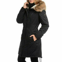 1 Madison Expedition Parka Coat Womens Black Anorak Faux Fur Hood L XL image 4