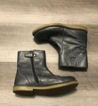Lands End Girls Gray Metallic Leather Boots Sz 1 Booties Zip - $19.79