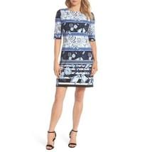 Eliza J Womens Blue White Dress Shift Spring Polyester Spandex Sz 6 NWT - $57.41