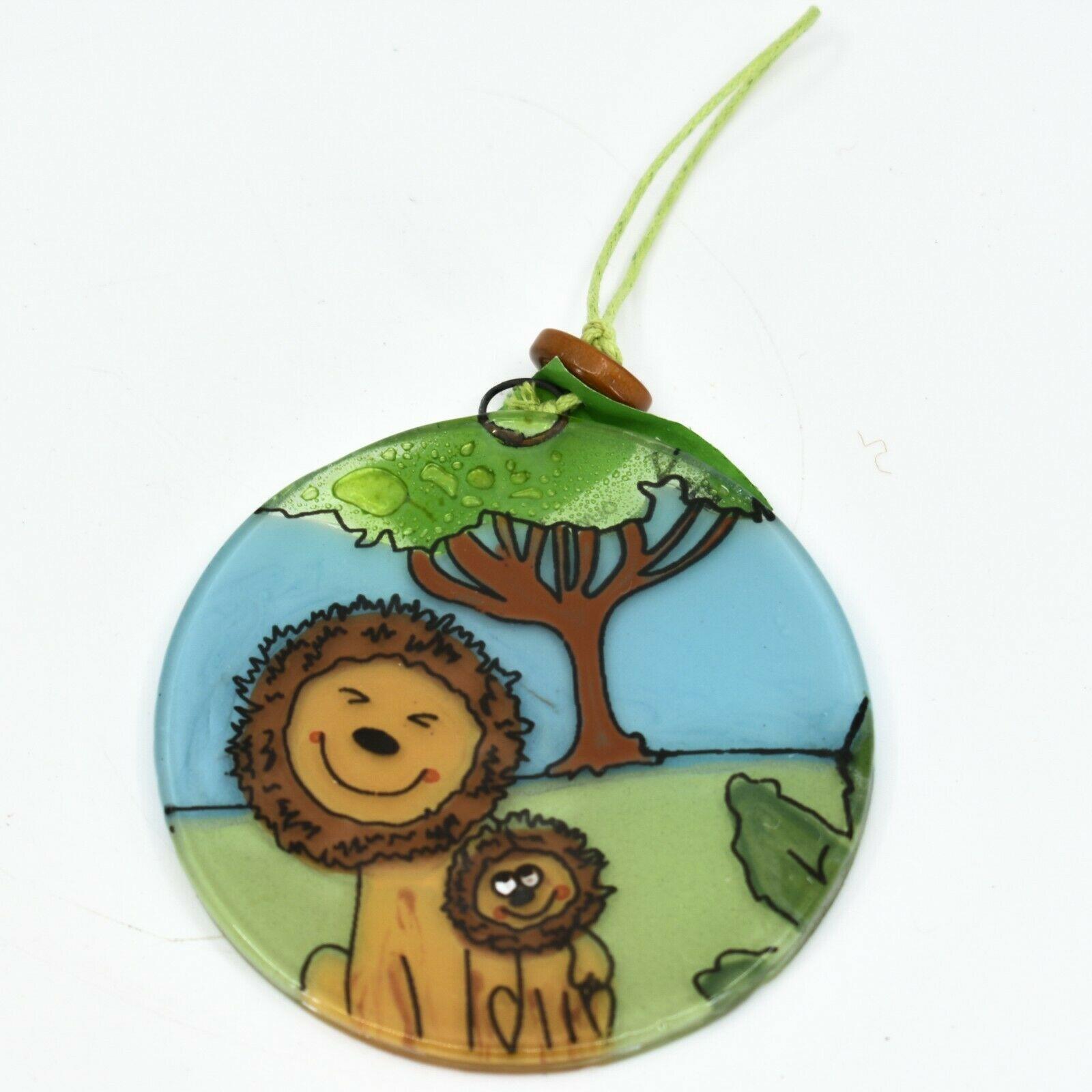 Fused Art Glass Smiling Lions Ornament Handmade in Ecuador