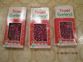 Tinsel Garland Red and Silver Vintage  3 Boxes Box says:  Tinsel Garland... - $19.99