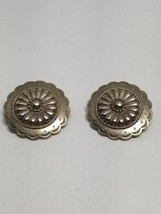 Southwestern Look Silver Tone Pierced Earrings Vintage JJ Jonette Jewelry - $13.49