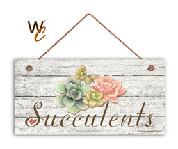 "Succulents Sign, Rustic Style Garden Sign,  5"" x 10"" Wood Succulent Plan... - $11.39"