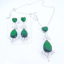 2020 new fashion retro BLUE red green CZ zircon necklace earrings party ... - $27.74