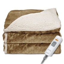 Heated Throw Blanket Reversible Sherpa/RoyalMink Warm & Soothing w/ Cont... - €77,99 EUR