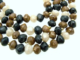 Vintage Double Strand Beaded Necklace Simulated Natural Stone ca 1970s - $16.95