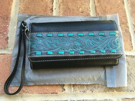 Trinity Ranch Tooled Wallet - Turquoise Montana west women's clutch - $39.59