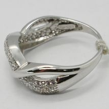 SOLID 18K WHITE GOLD BAND ZIRCONIA RING, ONDULATE, TWISTED, BRAID, MADE IN ITALY image 5