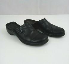 Clarks Woman's Black Leather Slides Mules Clogs Size 7 M  - $14.01