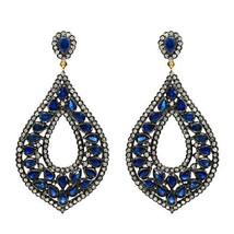Blue Sapphire Gemstone Silver Pave 3.86Ct Diamond 14 K Gold Dangle Earri... - $1,524.33