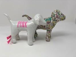 Pair Victorias Secret PINK Metallic White & Good Love Colorful Graffiti Dog Dogs - $21.77